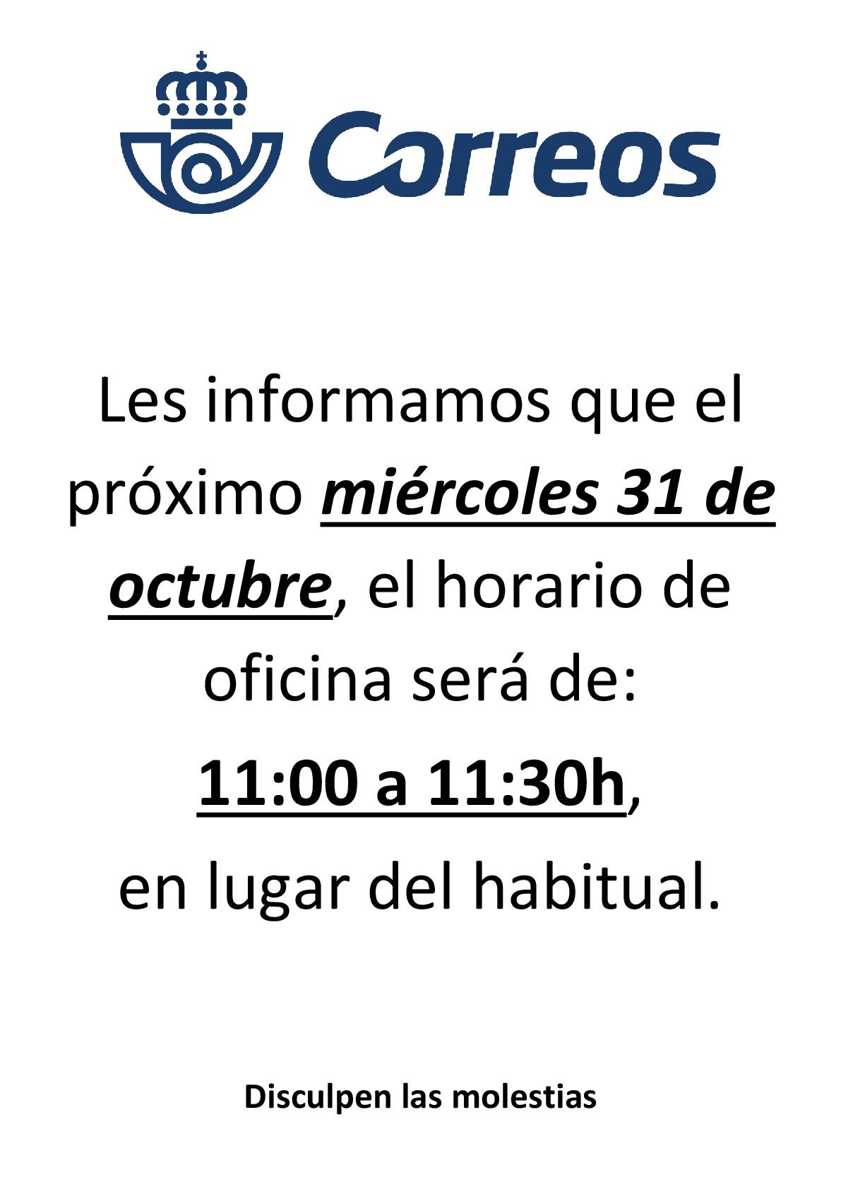 Horario especial Correos 31.10.18